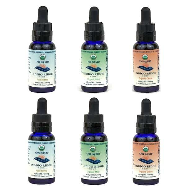 all 6 organic cbd oils bottles